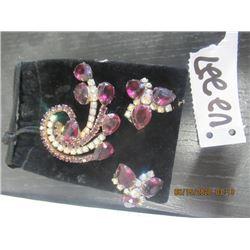 Vintage 3 Pc Brooch & Earring Set