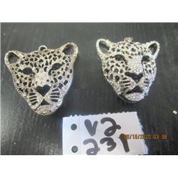 2 Lioness'  Head Pendants