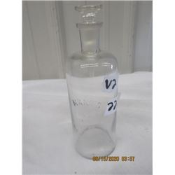"""""""Mann's"""" Perfume Bottle- Glass Embossed Label 9"""" H x 3"""" Round- Vintage"""
