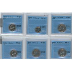 6 CCCS certified coins, 1968-S USA 5 cents, 1968-S USA 25 cents, 1969-S USA 25 cents, 1968-S USA 5 c