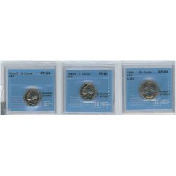 3 CCCS CERTIFIED COINS, 2 X 1968-S USA 5 CENTS, 1 1966 USA 25 CENTS