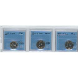3 CCCS certified coins, 2 X 1968-S USA 5 cents, 1 1968-S USA 25 cents