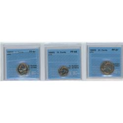3 CCCS certified coins, 1968-S USA 5 cents, 10 cents & 25 cents