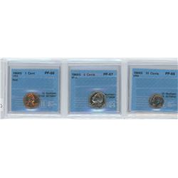 3 CCCS certified coins, 1968-S 1 cent, 5 cents & 10 cents