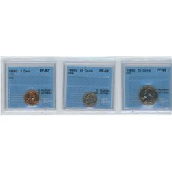 3 CCCS CERTIFIED COINS, 1968-S USA 1 CENT, 10 CENTS, 25 CENTS