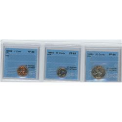 3 CCCS CERTIFIED COINS, 1968-S USA 1CENT, 1968-S USA 10 CENTS, 1969-S USA 25 CENTS
