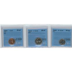 3 CCCS CERTIFIED COINS, 1968-S USA 1 CENT, 5 CENTS & 10 CENTS