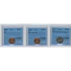 3 CCCS CERTIFIED COINS, 1968-S USA 1 CENT, 1970-S USA 1 CENT, 1971-S USA 5 CENTS