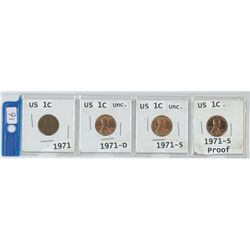 4 USA 1 cent coins, 1971, 1971-D, 1971-S, 1971-S Proof