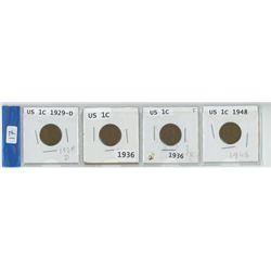 4 USA 1 cent coins, 1929-D, 2 X 1936, & 1948