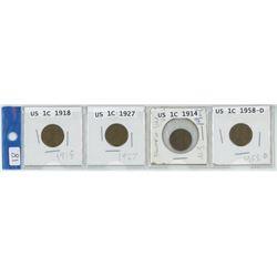 4 USA 1 cent coins, 1918, 1927, 1914, 1958-D