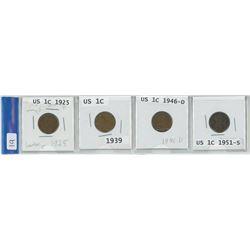 4 USA 1 cent coins, 1925, 1939, 1946-D, 1951-S