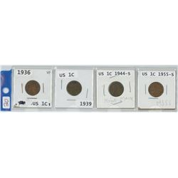 4 USA 1 CENT COINS, 1936, 1939, 1944-S, 1955-S