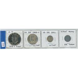 4 USA COINS, 1976-S $1.00, 1969-D .50 CENT PIECE, 1951 .10 CENT & .10 CENT 'SCHOOL MONEY' TOKEN