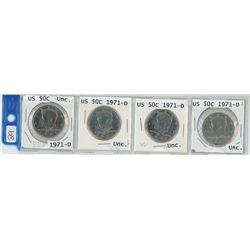 4 USA 50¢ pieces, 1971-D