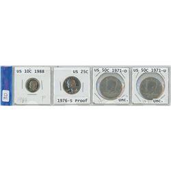 4 USA coins, 1988 10¢, 1976-S 25¢,  2 X 1971-D 50¢ pieces