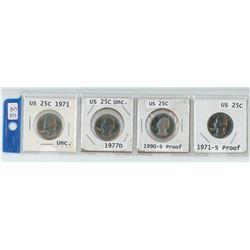 4 USA 25¢ pieces, 2 X 1971, 1977-D, 1990-S