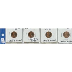 4 USA 1¢ COINS, 1969-S, 1971-S, 1976-S, 1982-S