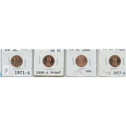 4 USA 1¢ coins, 1971-S, 1990-S, 1994, 1977-S