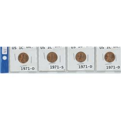 4 USA 1¢ COINS, 3 X 1971-D, 1 X 1971-S