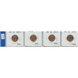 4 USA 1¢ coins, 1971