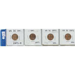 4 X 1971 USA 1¢ COINS, 1 DENVER MINT