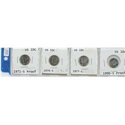 4 USA 10¢ 1971-S, 1976-S, 1977-S, 1990-S