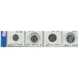 4 USA COINS, 1971-S 10¢, 1967 5¢, 1971-S 25¢, 1976-S 25¢