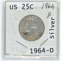 1964-D US 25 CENT COIN