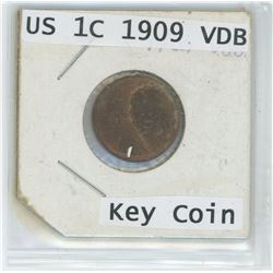 1909 US 1 Cent VDB Key Coin