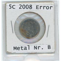 2008 Metal Nr. B 5 Cent - Error Coin
