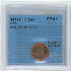 1972S USA 1 Cent Coin