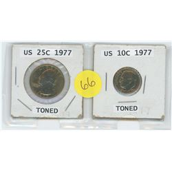 1977 US 25 Cent Coin c/w 1977 US 10 Cent Coin