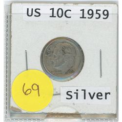 1959 US 10 Cents Coin