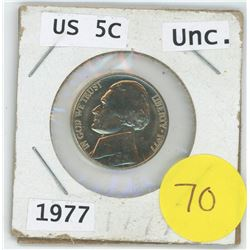1977 US 5 Cent Unc. Coin