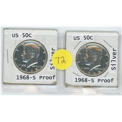 2x 1968 US 50 Cent Coin