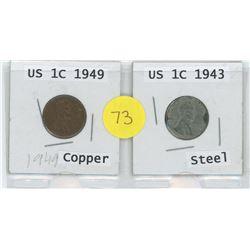 Copper 1949 US 1 Cent c/w Steel 1943 US 1 Cent