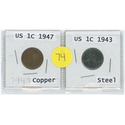 Copper 1947 US 1 Cent c/w Steel 1943 US 1 Cent