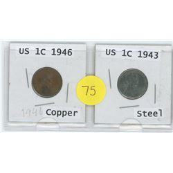 Copper 1946 US 1 Cent c/w Steel 1943 US 1 Cent