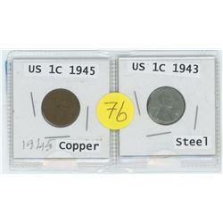 Copper 1945 US 1 Cent c/w Steel 1943 US 1 Cent