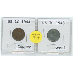 Copper 1944 US 1 Cent c/w Steel 1943 US 1 Cent