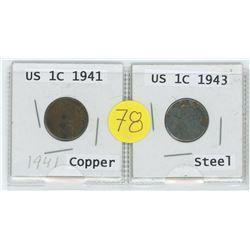 1941 US Copper 1 Cent c/w 1943 Steel US 1 Cent