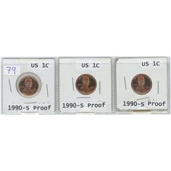 3 1990-S Proof USA I cents