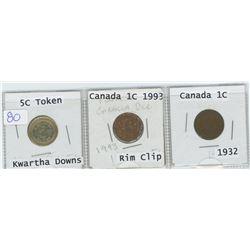 5 cent Kwartha Downs token, Canada 1993 1 cent, Canada 1932 1 cent