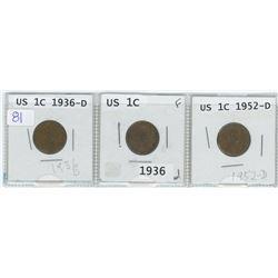 3 USA 1 cents, 1936-D, 1936 & 1952-D
