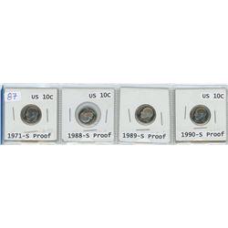 4 USA dimes, 1971-S, 1988-S, 1989-S, 1990-S