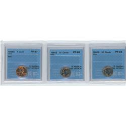 3 CCCS Certified coins, 1968-S USA 1 cent, 1968S USA 10 cents, 1968S USA 10  cents