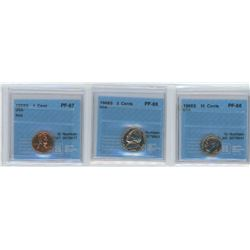 3 CCCS Certified coins, 1968-S USA 1 cent, 1968S USA 5 cents, 1968-S USA 10 cents
