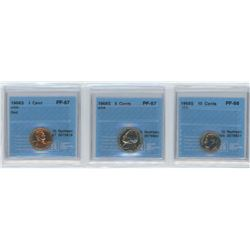 3 CCCS certified coins, 1968-S USA 1 cent, 1968-S USA 5 cents, 1968-S USA 10 cents