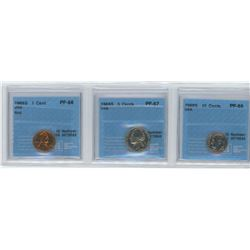 3 CCCS certified coins, 1968-S USA 1 cent, 1969-S USA 5 cents, 1968-S USA 10 cents